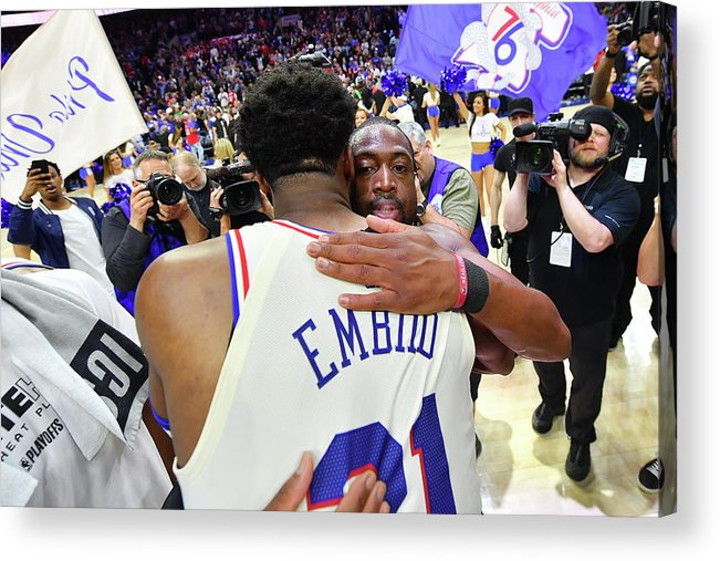 Playoffs Acrylic Print featuring the photograph Dwyane Wade and Joel Embiid by Jesse D. Garrabrant
