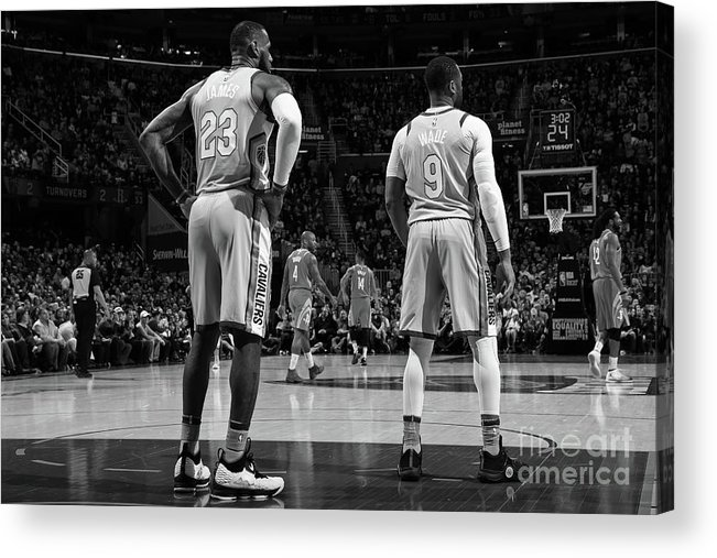 Nba Pro Basketball Acrylic Print featuring the photograph Dwyane Wade and Lebron James by Joe Murphy