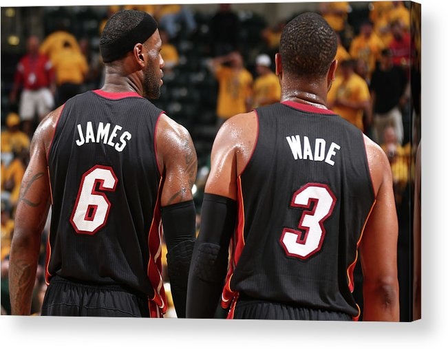 Playoffs Acrylic Print featuring the photograph Dwyane Wade and Lebron James by Nathaniel S. Butler