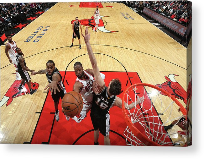 Nba Pro Basketball Acrylic Print featuring the photograph Dwyane Wade and Pau Gasol by Nathaniel S. Butler