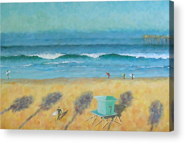 Life Guard Tower Acrylic Print featuring the painting Tower Number Seven by Philip Fleischer