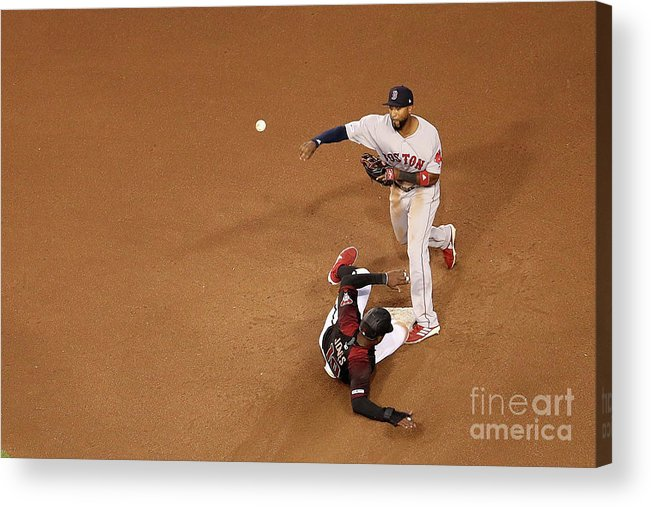 People Acrylic Print featuring the photograph Eduardo Nunez and Adam Jones by Christian Petersen