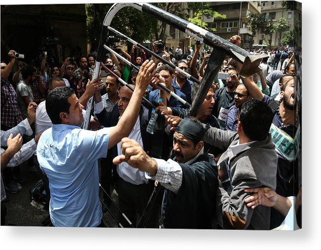 Social Issues Acrylic Print featuring the photograph Egyptian journalists protest in Cairo by Anadolu Agency