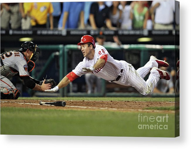 Citizens Bank Park Acrylic Print featuring the photograph Eli Whiteside and Chase Utley by Drew Hallowell