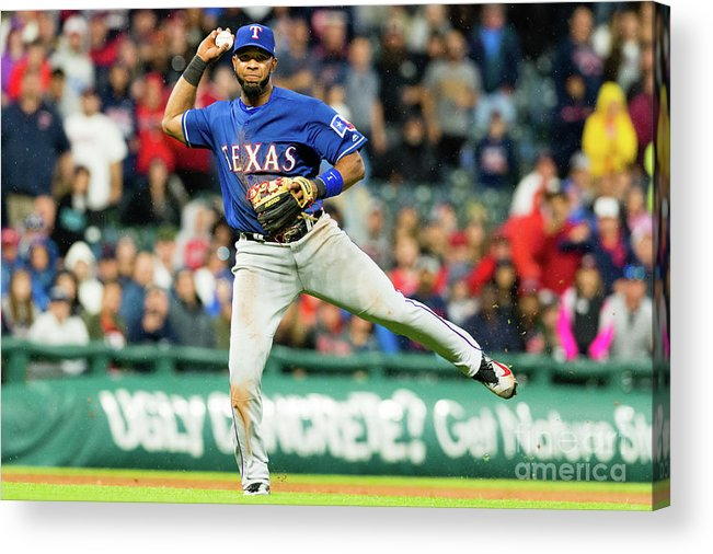 People Acrylic Print featuring the photograph Elvis Andrus and Francisco Lindor by Jason Miller