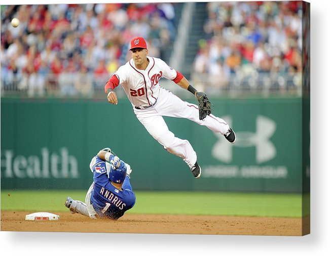American League Baseball Acrylic Print featuring the photograph Elvis Andrus and Ian Desmond by Greg Fiume