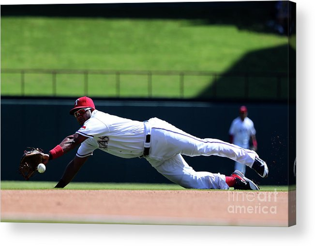 Second Inning Acrylic Print featuring the photograph Elvis Andrus and Logan Forsythe by Tom Pennington