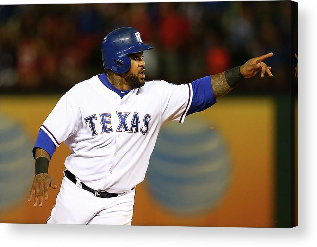 Three Quarter Length Acrylic Print featuring the photograph Elvis Andrus And Prince Fielder by Sarah Crabill