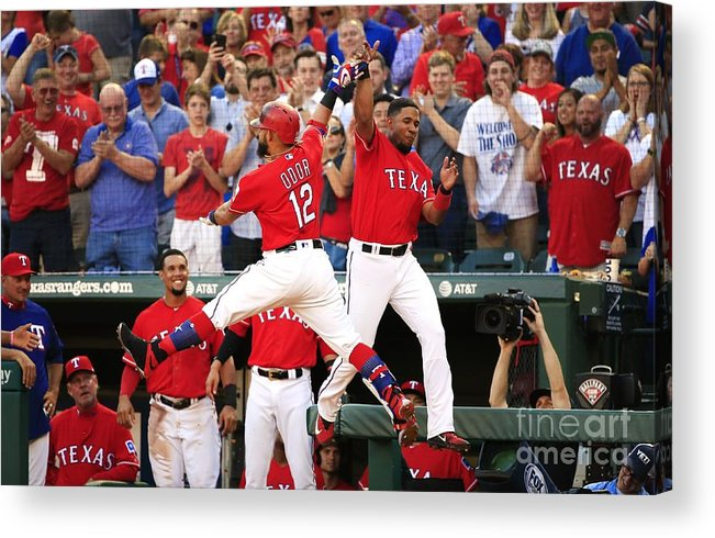 Second Inning Acrylic Print featuring the photograph Elvis Andrus and Rougned Odor by Ron Jenkins
