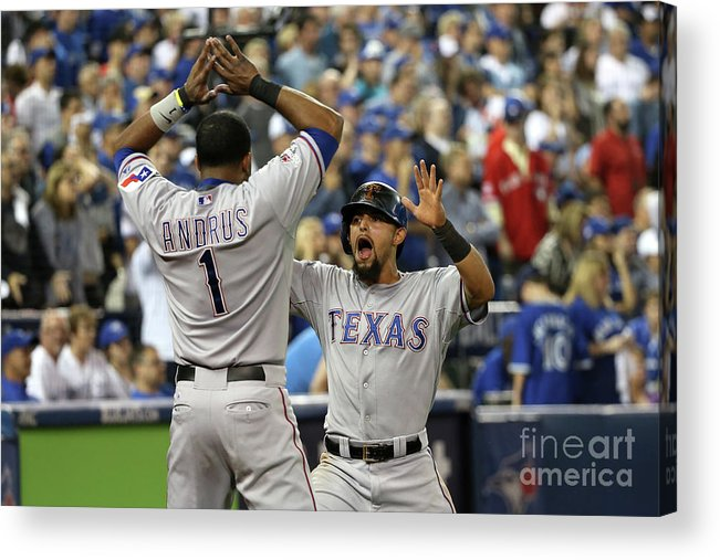 Game Two Acrylic Print featuring the photograph Elvis Andrus and Rougned Odor by Tom Szczerbowski