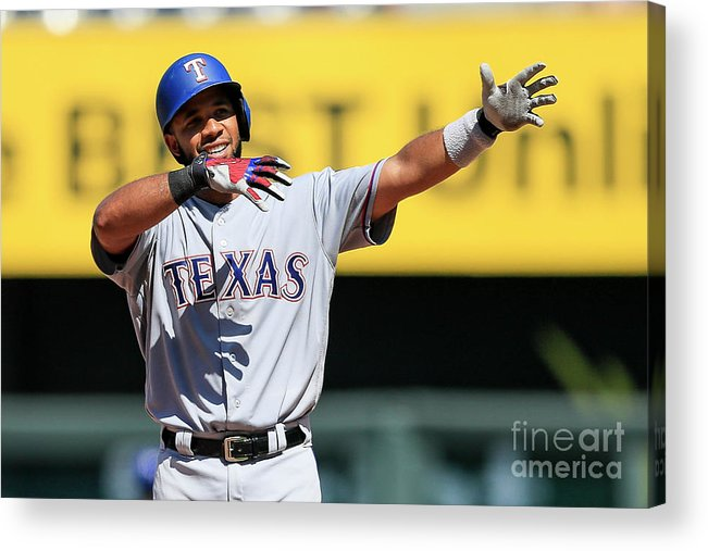 People Acrylic Print featuring the photograph Elvis Andrus by Brian Davidson