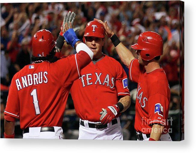 Playoffs Acrylic Print featuring the photograph Elvis Andrus, Michael Young, and Josh Hamilton by Stephen Dunn