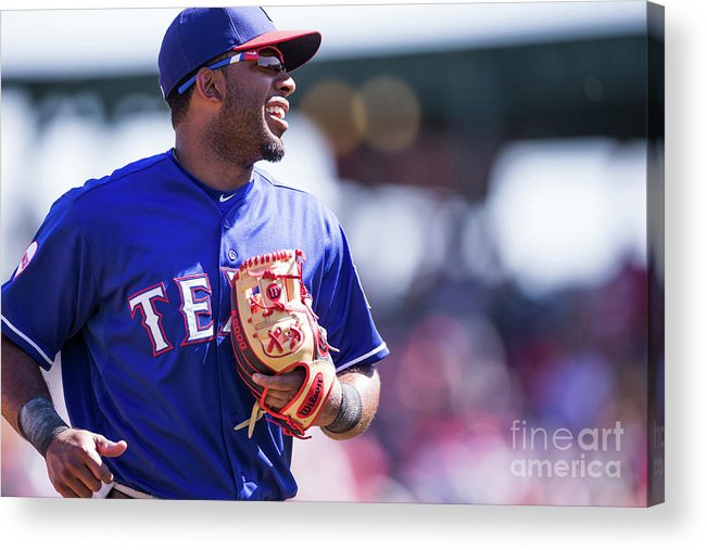 Tempe Diablo Stadium Acrylic Print featuring the photograph Elvis Andrus by Rob Tringali