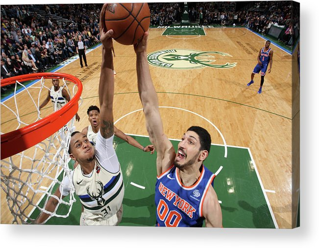 Nba Pro Basketball Acrylic Print featuring the photograph Enes Kanter and John Henson by Gary Dineen