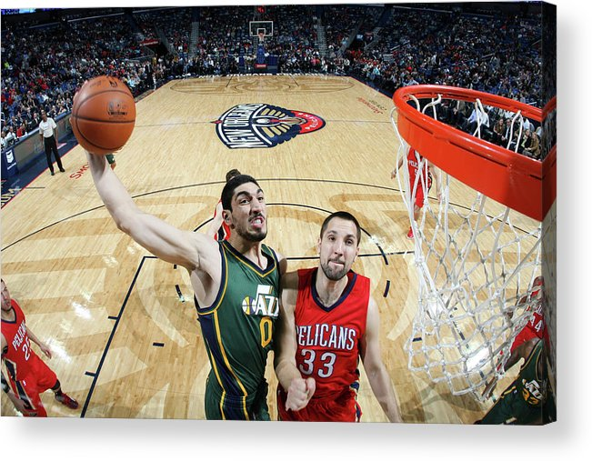 Smoothie King Center Acrylic Print featuring the photograph Enes Kanter by Layne Murdoch