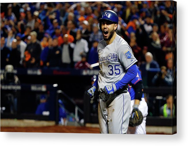 Salvador Perez Diaz Acrylic Print featuring the photograph Eric Hosmer and Jeurys Familia by Al Bello