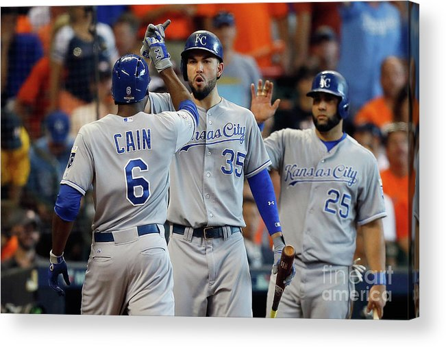Three Quarter Length Acrylic Print featuring the photograph Eric Hosmer and Lorenzo Cain by Bob Levey