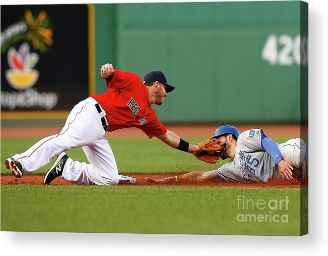 American League Baseball Acrylic Print featuring the photograph Eric Hosmer and Stephen Drew by Jared Wickerham
