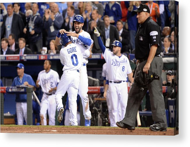 Playoffs Acrylic Print featuring the photograph Eric Hosmer and Terrance Gore by Ron Vesely