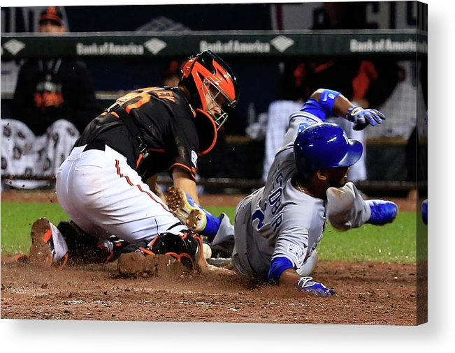 Ninth Inning Acrylic Print featuring the photograph Eric Hosmer, Nick Hundley, and Alcides Escobar by Rob Carr
