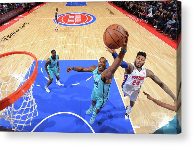 Nba Pro Basketball Acrylic Print featuring the photograph Eric Moreland and Dwight Howard by Jesse D. Garrabrant