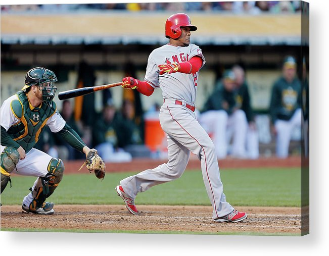 Following Acrylic Print featuring the photograph Erick Aybar and Stephen Vogt by Brian Bahr