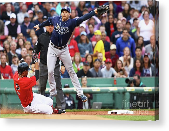 People Acrylic Print featuring the photograph Evan Longoria and Xander Bogaerts by Maddie Meyer