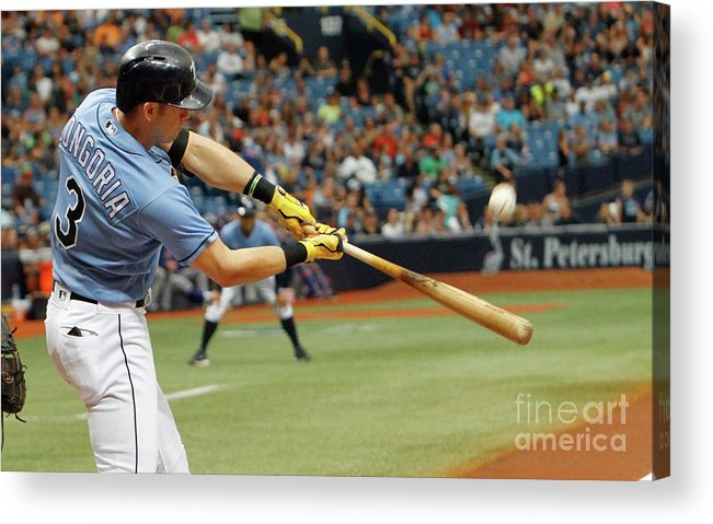 Three Quarter Length Acrylic Print featuring the photograph Evan Longoria by Joseph Garnett Jr.