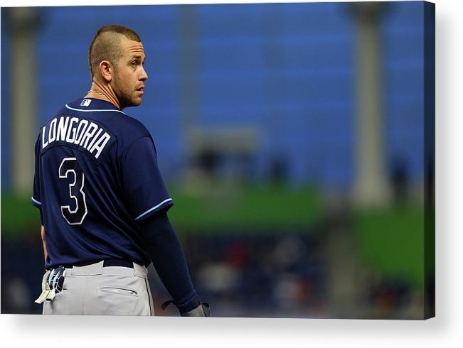 American League Baseball Acrylic Print featuring the photograph Evan Longoria by Mike Ehrmann
