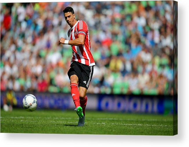 People Acrylic Print featuring the photograph FC Groningen v FC Southampton - Friendly Match by Christof Koepsel