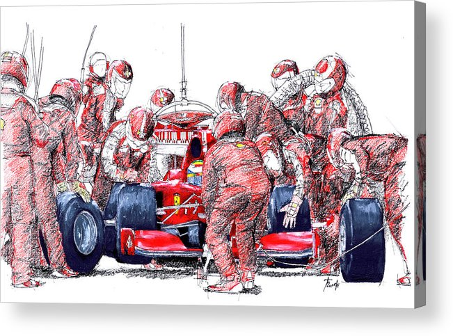Ferrari Acrylic Print featuring the drawing Ferrari a boxes, pits, Original handmade drawing by Drawspots Illustrations