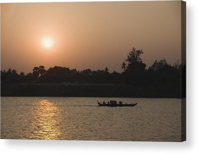 Southeast Asia Acrylic Print featuring the photograph Fishermen on the Mekong River, Phnom Penh, Cambodia, Indochina, Southeast Asia, Asia by Robert Harding / robertharding