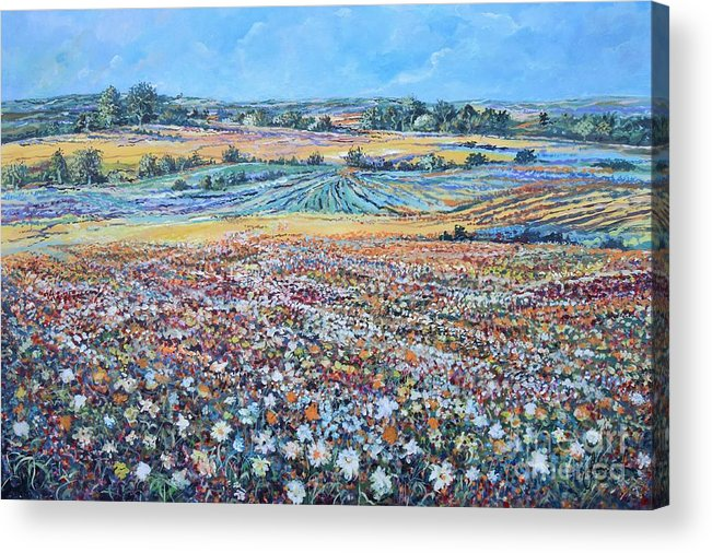 Flower Acrylic Print featuring the painting Flower Field by Sinisa Saratlic