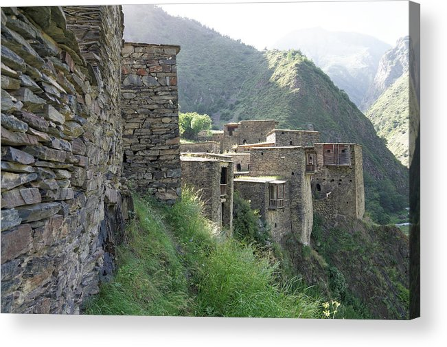 Built Structure Acrylic Print featuring the photograph Fortified houses on the cliffs, Shatili, Caucasus Mountains, Georgia by Vyacheslav Argenberg