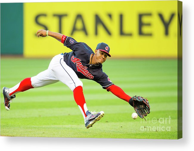 People Acrylic Print featuring the photograph Francisco Lindor and Chase Headley by Jason Miller