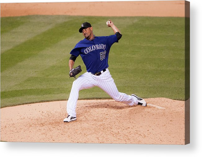 Baseball Pitcher Acrylic Print featuring the photograph Franklin Morales by Dustin Bradford