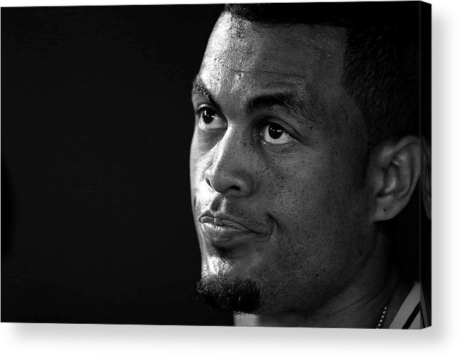 American League Baseball Acrylic Print featuring the photograph Giancarlo Stanton by Mike Ehrmann