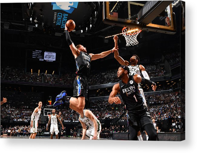 Nba Pro Basketball Acrylic Print featuring the photograph Giannis Antetokounmpo and Blake Griffin by Jesse D. Garrabrant