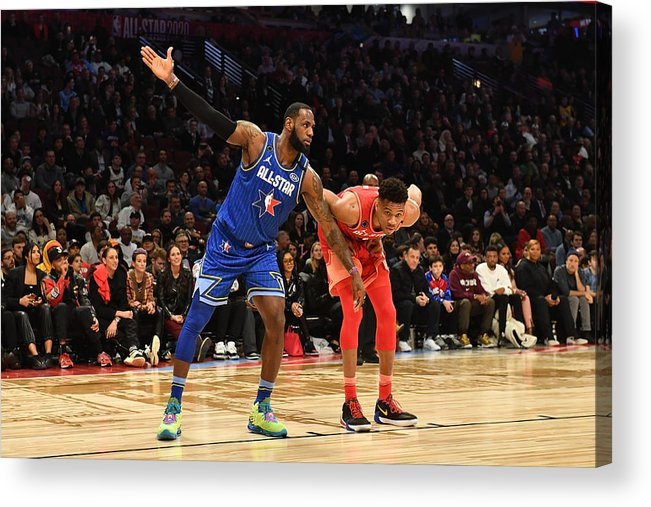 Nba Pro Basketball Acrylic Print featuring the photograph Giannis Antetokounmpo and Lebron James by Jesse D. Garrabrant