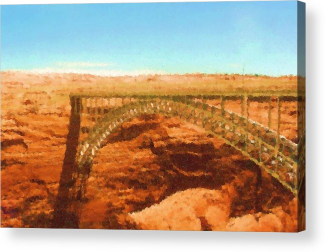 Glen Canyon Acrylic Print featuring the mixed media Glen Canyon by Asbjorn Lonvig