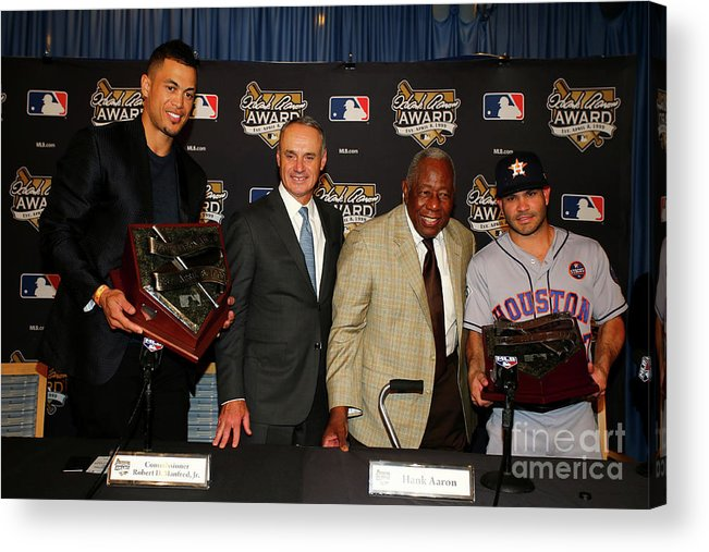 Game Two Acrylic Print featuring the photograph Hank Aaron and Giancarlo Stanton by Tim Bradbury