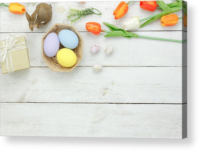 Easter Bunny Acrylic Print featuring the photograph High Angle View Of Easter Eggs In Bowl On Table by Chattrawutt Hanjukkam / EyeEm