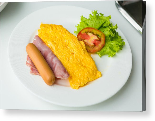 Omelet Acrylic Print featuring the photograph High Angle View Of Food In Plate by Chakrapong Worathat / EyeEm