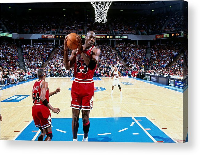 Chicago Bulls Acrylic Print featuring the photograph Horace Grant and Michael Jordan by Brian Drake