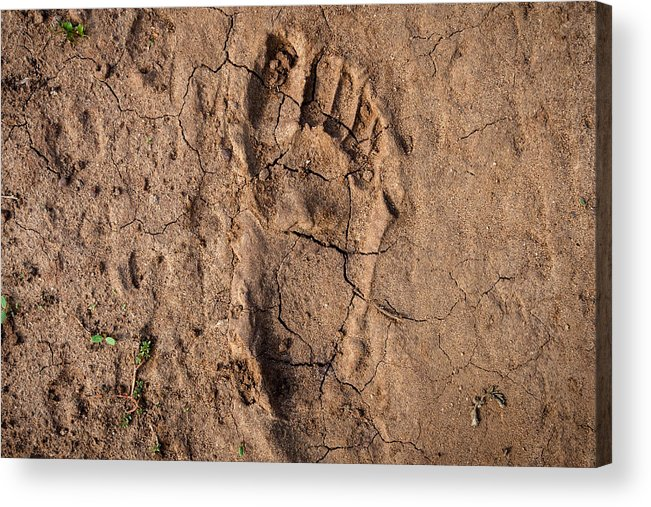 Famine Acrylic Print featuring the photograph Human footprint in the East-African desert (Malawi) by Guido Dingemans, De Eindredactie