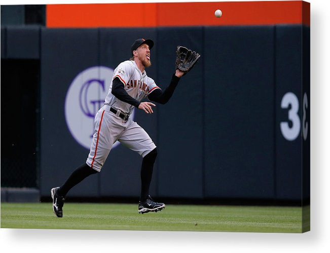 People Acrylic Print featuring the photograph Hunter Pence and Nolan Arenado by Doug Pensinger