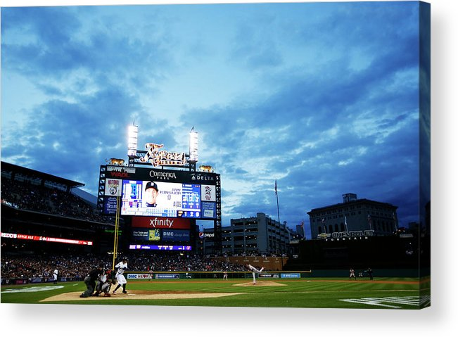 American League Baseball Acrylic Print featuring the photograph Ian Kinsler and Andrew Miller by Gregory Shamus