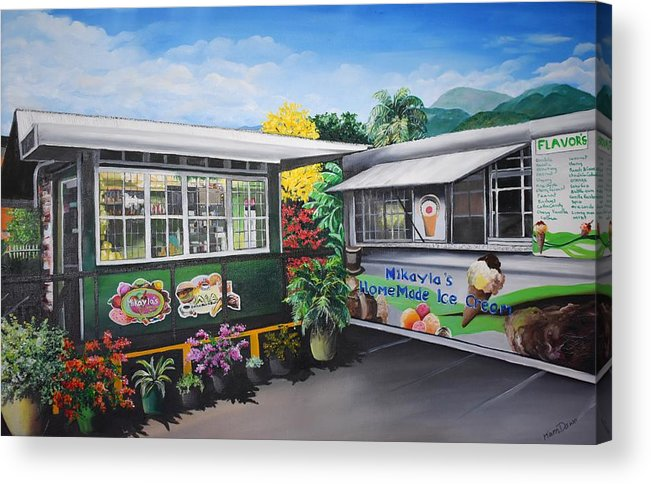 Houses Acrylic Print featuring the painting Ice Cream Parlor by Karin Dawn Kelshall- Best
