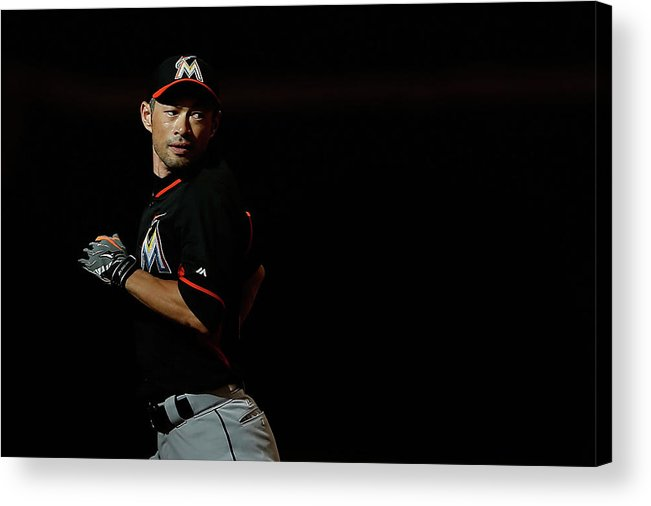 People Acrylic Print featuring the photograph Ichiro Suzuki by Christian Petersen