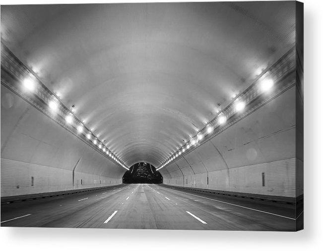Ceiling Acrylic Print featuring the photograph Interior Of Illuminated Tunnel by Jesse Coleman / EyeEm